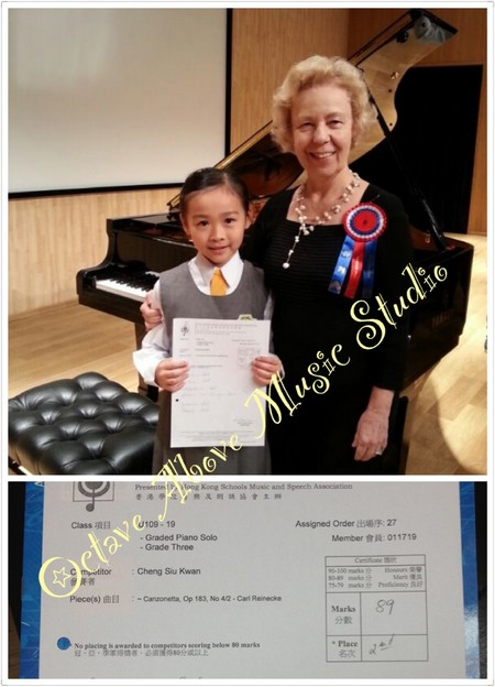 Class項目 Assigned Order出場序: 27 J109 , 19 - Graded Piano Solo Member會員: 011719 Grade Three mtitorC Cheng Siu Kwa Pece(s)曲目 : ~ Cantonena, Op 183, No 42-Cart Reinecke Mark 分散 ·Place,formal wear,