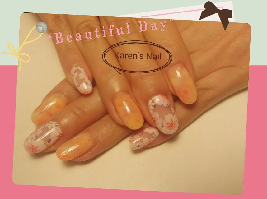Beautiful Day aren's Nail,finger,nail,hand,orange,peach