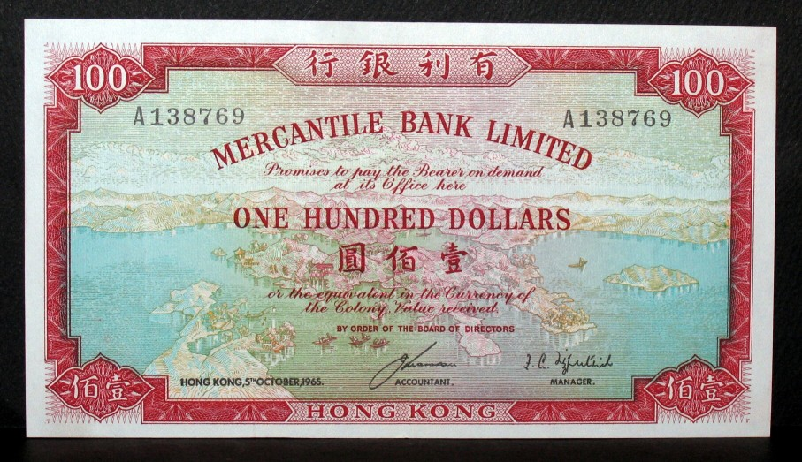 "100 100 A13876 9 A138769 ERCANTILE BANK 3hemiaea to lay the勇enter ondemeuid ONE HUNDRED DOLLARS The Boloni Value heberet BY ORDER OF THE BOARD OR DIRECTORS HONG KONG S""OCTOBER,1965. ACCOUNTANT MANAGER 요 HONGKONG,banknote,currency,paper,font,material"
