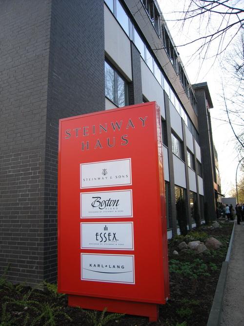 STEINWAY HAUS STEINWAY&SONS Got ESSEX KARL LANG,architecture,house,neighbourhood,building,signage