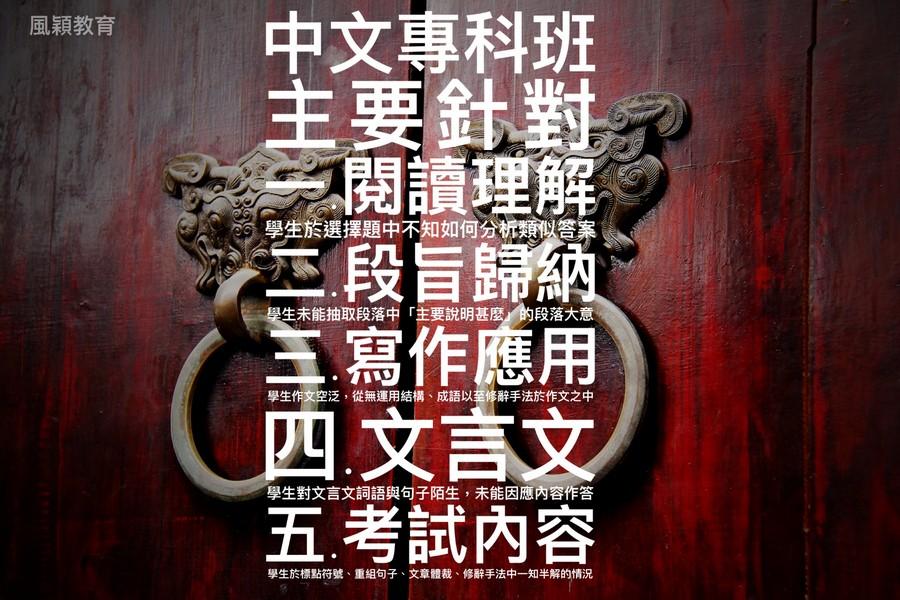 中文專科班 主要針對 閱讀理解 一段旨歸納 1寫作應用 風穎教育 學生於選擇題中不知如何分析類 答案 生未能抽取段落中「主要說明甚麼/的段落大意 學生作文空泛,從無運用結構、成語以至修辭手法於作文之中 四文言 學生對文言文詞語與句子陌生,未能因應內容作答 考試內容 學生於標點符號、重組句子、文章體裁、修辭手法中一知半解的情況,advertising,poster,font,