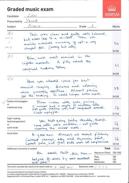 山 ABRSM Graded music exam Candidate Presented by Subject Grade Marks 30 120 30 120 2.3 30 1201 Scales and arpeggios traditional song Nott-wane. 叩。 ' 21 114 Sight-reading land transpositionl quick study Aural tests 21 114l l6 Additional comments if needed Total o aeal Mes ti Maximum IPas) 150 1100 Pass 100 130 This form records the result of an exam held on 2 May > Examiner code c' / . The Associabed Board af the Royal Schools ot Music A company registered with timited liablity in England and Wales No. 1926395 Registered as a Charity Na. 292182 Registered effice: 24 Pertland Place, Londen W18 1LU Telephone 44 18120 74365400 Email abrsmaarsm.a.uk www.abrsm.eng,text,font,line,paper,document