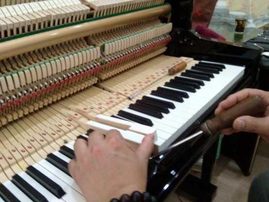 調整弦槌擊弦距離及聯動桿頂柱空隙的調節.琴鍵個別深度的調節