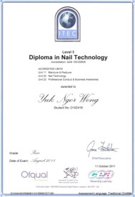 Diploma in Nail Technology Oiqual,text,font,paper,line,paper product