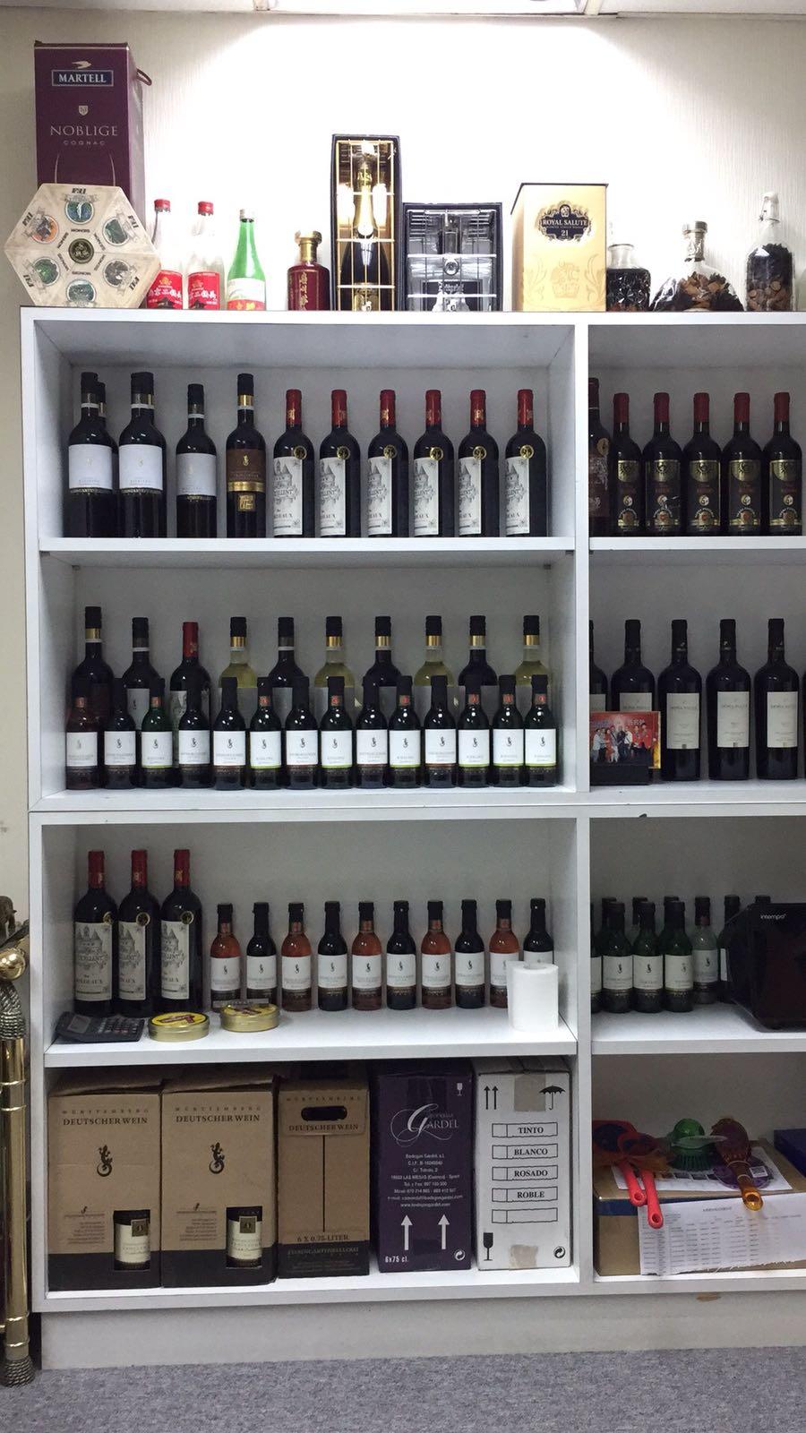 MARTELL NOBLIGE ROYAL SALUT 21 DEUTSCHERWEIN DEUTSCHERWEIN ARDEL TINIO BLANCO ROSADO ROBLE 6x75c1,liquor store,product,shelf,shelving,product