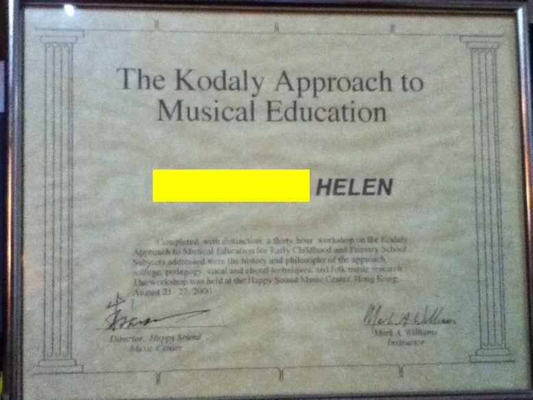The Kodaly Approach to Musical Education HELEN,text,commemorative plaque,