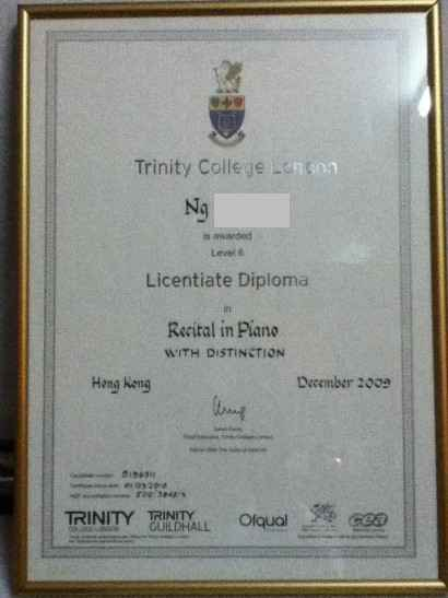 Trinity Colle je Len Na Lever Licentiate Diploma Recital in Piane WITH DISTINCTION Hang Ken December 2009 TRINITYNITY GUILDHALL,text,diploma,academic certificate