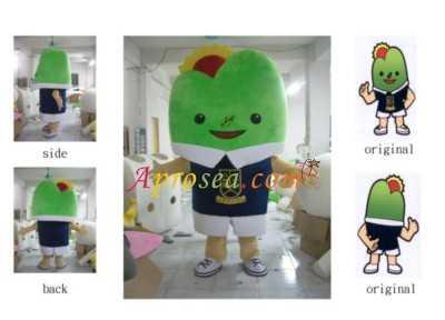 side original back original,Green,Mascot,Cartoon,Toy,Textile