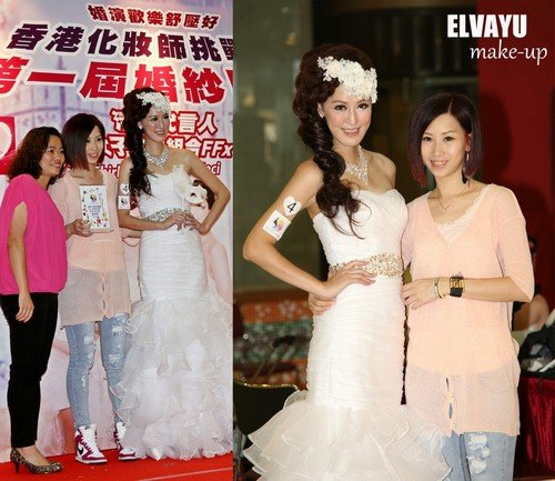 媚演歡樂舒壓好 ELVAYU 香港化妝師 make-up,gown,fashion accessory,bridal clothing,shoulder,wedding dress