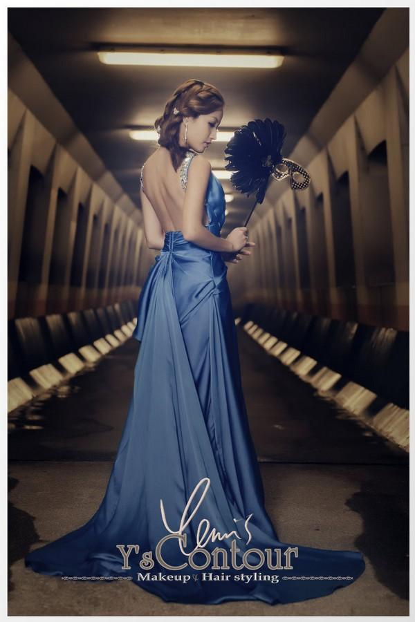 Y'sContour Makeup Hair styling,gown,blue,dress,formal wear,shoulder