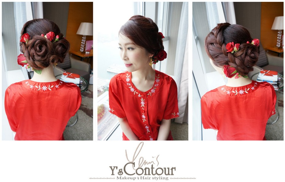 of Ysontour Makeup Hair styling,hair,red,hairstyle,shoulder,fashion accessory