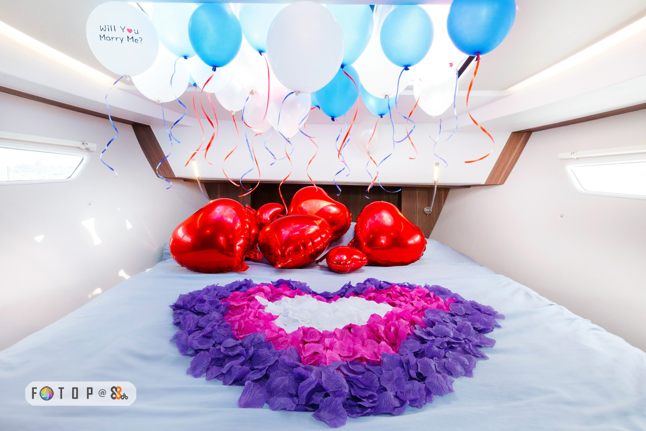 Will Yu Marry Me?,red,balloon,petal,centrepiece,heart