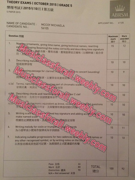 THEORY EXAMS 1 OCTOBER 2015 | GRADE 5 樂理考試( 2015年10月]第五級 S PAPER 2015 ABRSM APPLICANT NO.: 41125 NAME OF CANDIDATE MCCOY MICHAELA CANDIDATE NO.: 56105 Maximum Mark mark awarded 滿分 Question 得分 15 12 1. Ng ornaments, giving time name, giving technical names, rewriting Mus uping Ibeamingl the notes correctly and describing time signature 名稱、專有名稱,重寫旋律並正確地(以橫幹線)組合音 iclassforall.weebly.com siclassforall.weebly.com Musiclassforall weebly.com 付 10 10 2. Describing melo 描述旋律音程 Mu 10 to concert Isoundingl 3. sing passage for clarinet ,以實際音高重寫 10 10 4.la) Terms, nami ¡Apart of chromatic sca 晉階 音樂詞彙,寫調名 10 or C clef 4) Describing chords and rewritin 述和弦,及用次中音譜號重寫 uestions 10 10 monic equivalent as breve, vocL 同音,及與聲樂和樂器相關的問 10 10 ed key signature and adding Writing scale make named sca 根據指定調號寫音階 5. 定音階 rds 15 6. Writing melody for violin or trumpet 為小提琴或小號寫作旋律或為字詞譜曲 names or 10 10 Indicating suitable progressions for two cadences any other recognised symbol, or by writing notes on the 以和弦名稱或其,text,font,document,line,