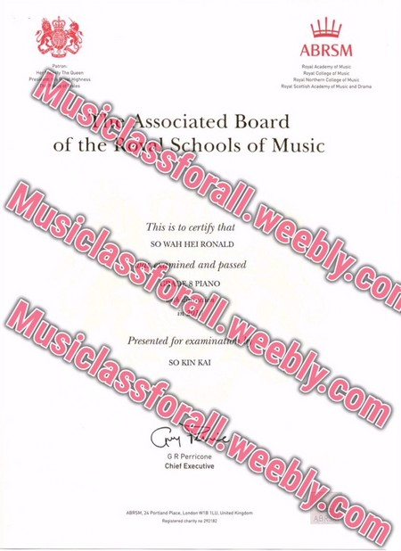ABRSM y College of Music Associated Board of the iSchools of Music This is to certify that SO WAH HEI RONALD ined and passed PIANO Presented for examina SO KIN KA G R Perricone Chief Executive,text,pink,font,line,