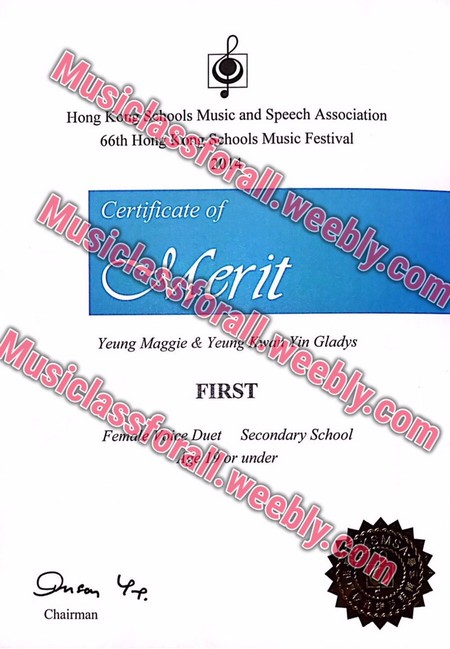 Musiclassforall Hong Kote os Mic and Speech Association Schools Music Festival 66th Ho Certificate of Yeung Maggie & Yeungnin Gladys FIRST sstorall.weebly.co it Musiclass forall.w uet Secondary School Fem r under eebly.com Chairman,text,font,line,