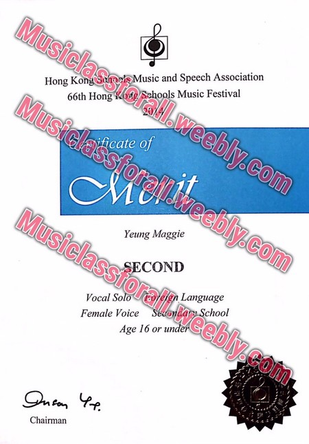 Musiclassforall Hong KongSuMusic and Speech Association 66th Hong oe/Schools Music Festival weebly.e raltmeebly.com MusiclasS cate of Yeung Maggie Mu siclass SECOND forall.w eien Language Vocal Solo Female Voice am School eebly.com Age 16 or un Chairman,text,font,line,