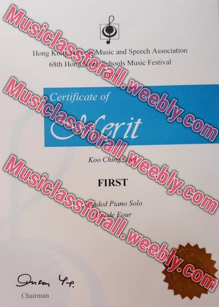 Musiclassfor Music and Speech Association Sshools Music Festival Hong Kolit 68th Ho all Certificate of rit ralil.weebly.co Koo Chin Musiclassforall.w FIRST led Piano Solo eebly.com Chairman,text,font,poster,