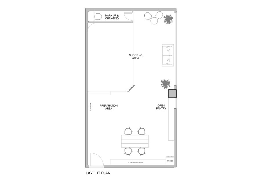 MARK UPa CHANGING SHOOTING AREA PREPARATION AREA OPEN PANTRY O 0 LAYOUT PLAN,text,line,area,angle,diagram