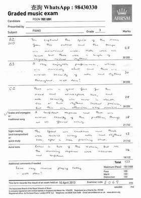 査詢whatsApp : 98430330 Graded music exam ABRSM Presanbed by Grade 府2 63 Tetal 33 069,text,music,font,black and white,line